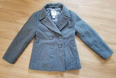9b64acac13e7 Old Navy Wool Blend Pea Coat Girls Size S 7 8 Gray Double Button Kids