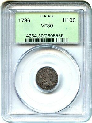 1796 H10c PCGS VF30 (OGH) Old Green Label Holder - Early Half Dime