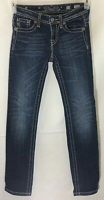 Miss Me Girls Skinny Jeans Sz 12x28 Dark Wash Denim Embellished