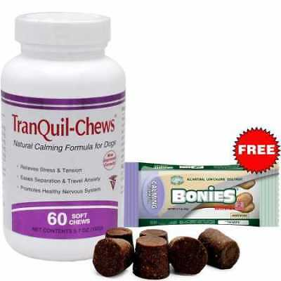 TranQuilChews for Dogs 60 Soft Chews + Free Bonies Natural Calming Formula