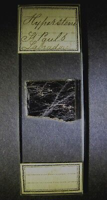 Antique Microscope Slide by Norman. Hyperstene. From St. Pauls, Labrador.