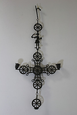 Antique Cast Iron Two Tier Candle Holder Wall Art Home Decor (690)