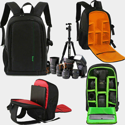 "DSLR SLR Lens Camera Bag Padded Travel Backpack Rucksack 15.6"" Laptop Cover Pack"