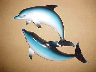 "4"" Double DOLPHIN Wall Hanging Decor Tropical Bath Beach Ocean Aquatic Porpoise"