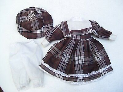 Alte Puppenkleidung Brown White Dress Hat Outfit vintage Doll clothes 30 cm Girl