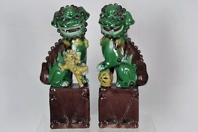 Stunning Pair of Antique Chinese Porcelain Hand-painted SuSanCai Fu Dogs