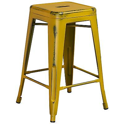 Tolix Style Industrial Metal Backless Counter Stool Distressed Antique Yellow