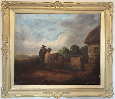 Rustics with a Donkey Antique Genre Oil Painting 19th Century English School