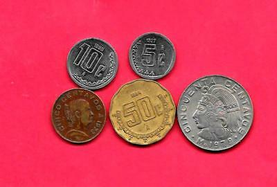 Mexico Mexican 5 Diff Different 1973-1998 Circ Coin Lot Collection Set W Old