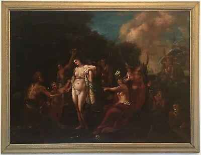 Neptune and Amphitrite Antique Old Master Oil Painting 18th/19th Century Italian