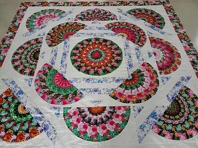 New fan Queen  size Machine pieced Quilt top# NJ-85