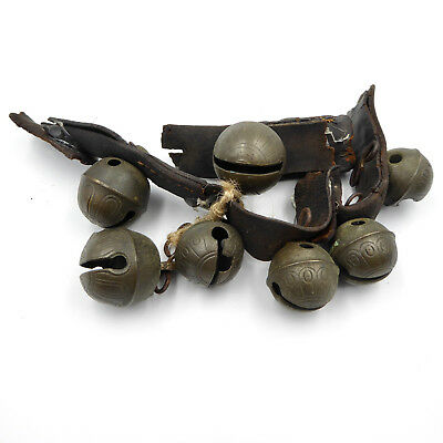 Antique Petal Sleigh Bells Lot of 7 Brass Leather Strap 1800's Great Sound