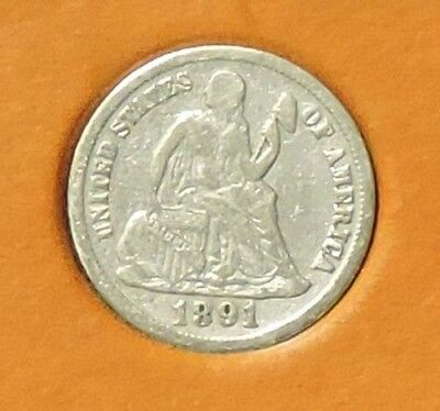 1891-S Seated Liberty Dime 10¢ Silver Coin (2014 First Commemorative Mint) @s3