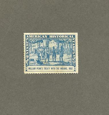 Amoco 1937 Vintage American Historical Stamp William Penn's Treaty with Indians