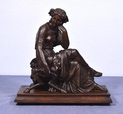 *French Antique Greek Revival Sculpture Bronzed Spelter of a Seated Woman