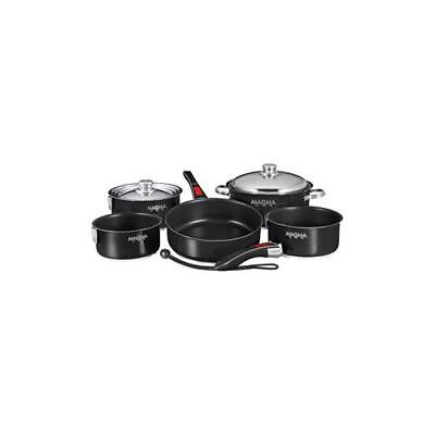 Magma Nesting 10-Piece Induction Compatible Cookware SS Exterior /& Slate Bl...