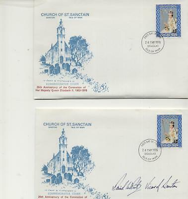 Isle of Man Pair 1978 St Sanctain Coronation covers,1  Signed, 1 plain