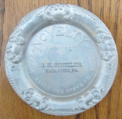 advertising tip tray Novelty Furnaces Abram Cox Stove Co JH Koehler, Hazleton PA