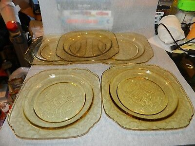 """Federal Madrid Amber Depression Glass Set of 5 Salad Dishes Plates 7 1/2"""" LOOK"""