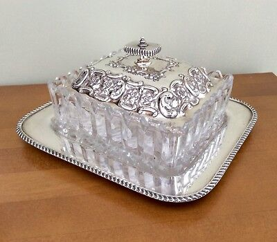 Fine Quality Antique Late Victorian Silver Plated & Cut Glass Butter Dish C.1895