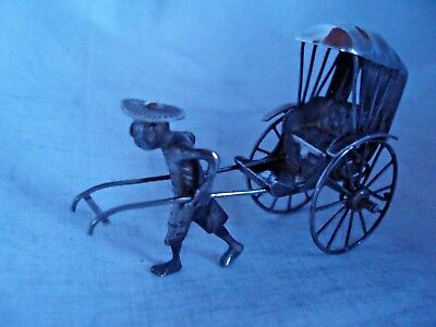 CHINESE EXPORT RICKSHAW MINIATURE STERLING SILVER CIRCA 1920s