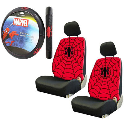 New Avengers Spider Man Red Car Truck 2 Front Seat Covers Steering Wheel Cover