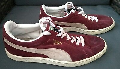 Mens Puma Burgundy Suede Lace Up Trainers UK Size 11
