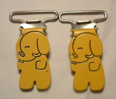 Vintage 1960s Metal Enameled Yellow Elephant Boy's Child's Suspender Clips