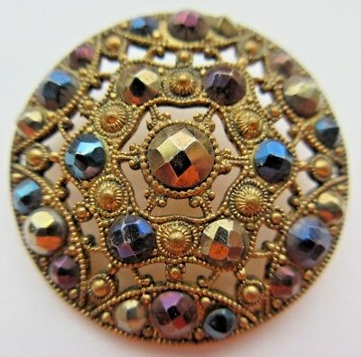 Dazzling LARGE Antique~ Vtg Victorian Pierced Metal BUTTON w/ Tinted Cut Steels