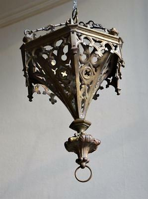 ANTIQUE 19thC CATHOLIC CHURCH ECCLESIASTICAL GOTHIC BRASS SANCTUARY LIGHT LAMP