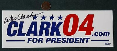 2004 General Wes Clark for President signed/autographed bumper sticker-Kosovo!
