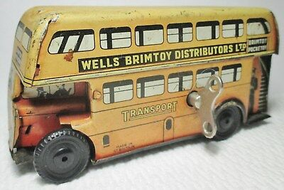 """Vintage 4.5"""" Wells Brimtoy Pocketoy Wind Up London Bus--Works Well--Ships Free"""