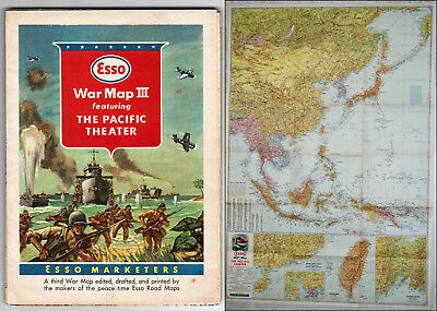 Esso War Map III Featuring the Pacific Theater c1943 World War II 2-sided VG+