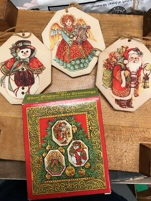Lot Of 3 Vintage Avon Fragrant Tree Trimmings 2 Sided Ornaments