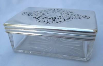 English Victorian Sterling Silver Crystal Vanity Box Briggs 27 Piccadilly 1858