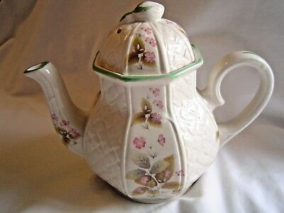 Vintage Arthur Wood Teapot #5856 Octagonal W/ Floral & Quilted Pattern - England
