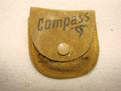"""Vtg 1 3/4"""" Compass In Leather Pouch-Made In Japan-Souvenir Of Duluth , MN"""