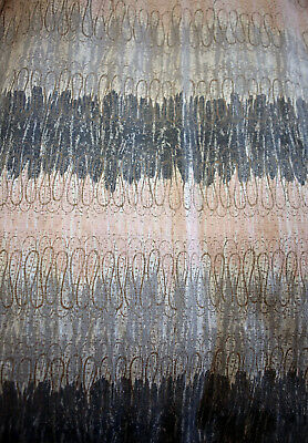 "FOUR PANELS Vintage Mid Century Barkcloth ATOMIC Fabric LONG Curtains 84"" x 41"""