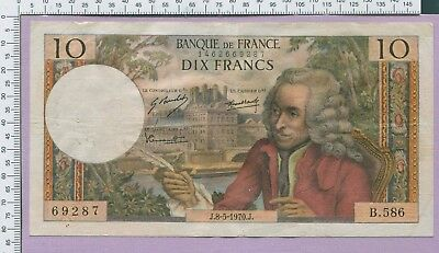 France 10 Francs 1970 Banknote P-147c VF++