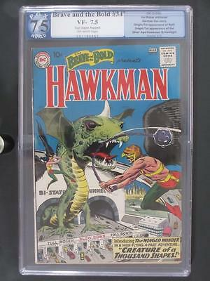 Brave And the Bold #34 -PGX 7.5 VF- DC 1961- 1st App & ORIGIN Hawkman & Hawkgirl