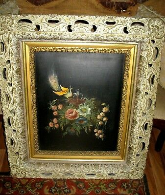 Pair of Antique Mid 19th c Oil on Board Paintings Ornate Gesso Wood Frames