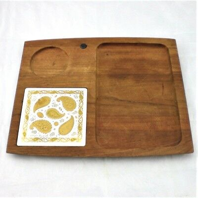 Georges Briard Wood Cheese Tray w Gold Paisley Tile Mid Century Modern MCM
