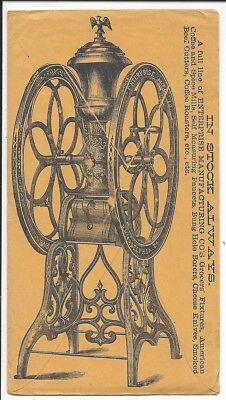 Great Overall Illustration of Enterprise Coffee Mill on Adv Cover, c1880s