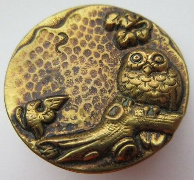 Outstanding X LARGE Antique~ Vtg Victorian Metal Picture BUTTON OWL on Log