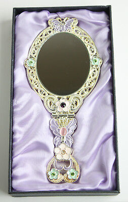 Hand Crafted Cloisonne Encrusted Enameled Butterfly Floral Motif Hand Mirror