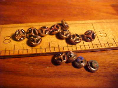 Antique fancy BRASS FRONTS ENAMELED STEEL BACK victorian buttons sewing antique