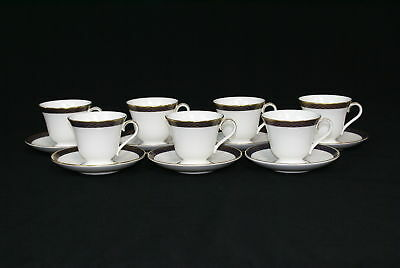 Set of 7 Waterford Powerscourt Footed Cups & Saucers  (500)