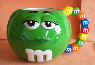 Green M&M's Chocolate Girl Ceramic Mug w/ Colored M&M's  Handle from Galerie