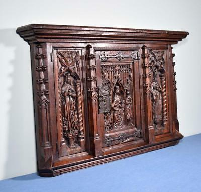 *Antique 1800's Gothic Cabinet Doors and Frame Solid Oak Wood w/Deep Carving