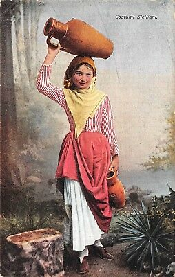 K169    Silicy,  Italy     Postcard,   Lady  In Native Costume